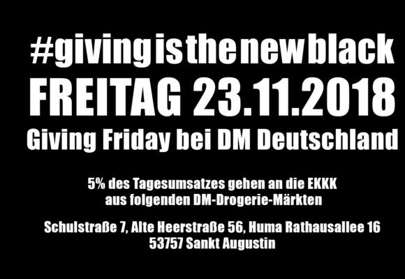 Am Freitag den 23.11.2018 ist Giving Friday bei DM Deutschland  #givingisthenewblack