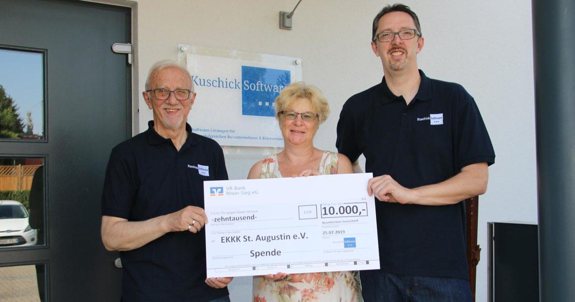 Spendenübergabe Firma Kuschick Software GmbH und Familie